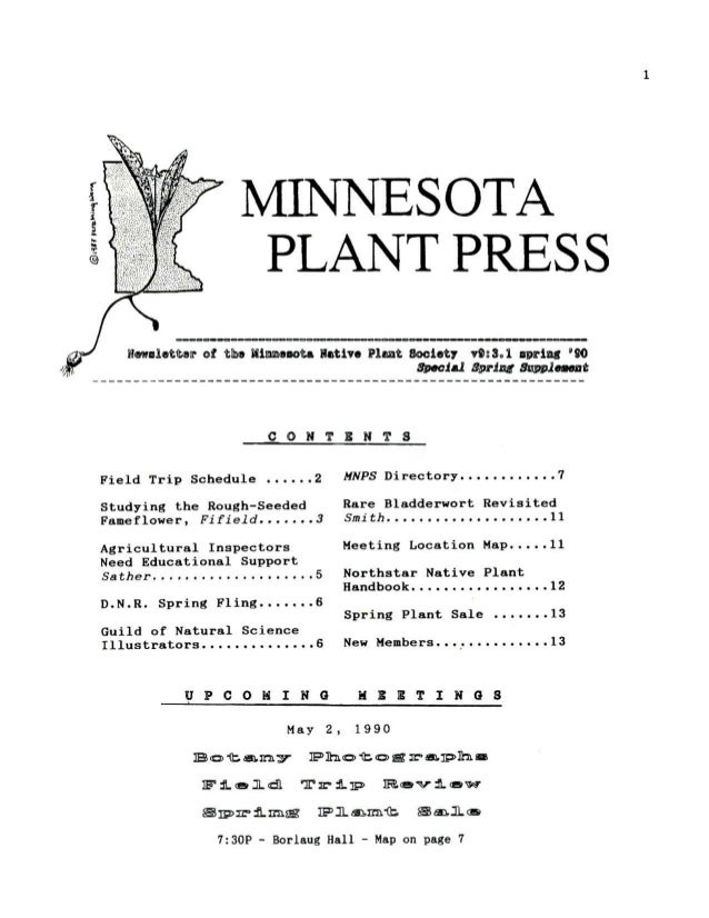 Supplement Spring 1990 Minnesota Plant Press
