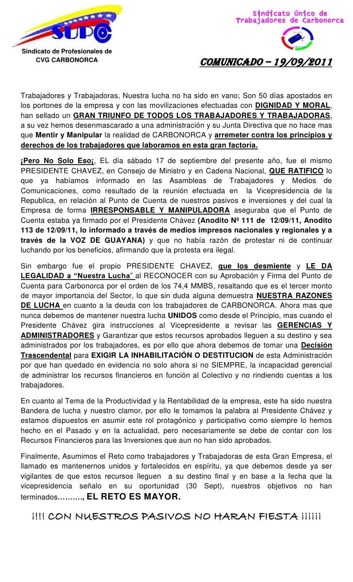 Sindicato Único de                                                               Trabajadores de Carbonorca               ...