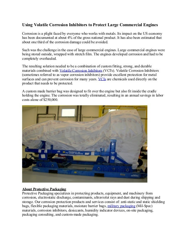 Using Volatile Corrosion Inhibitors to Protect Large Commercial EnginesCorrosion is a plight faced by everyone who works w...
