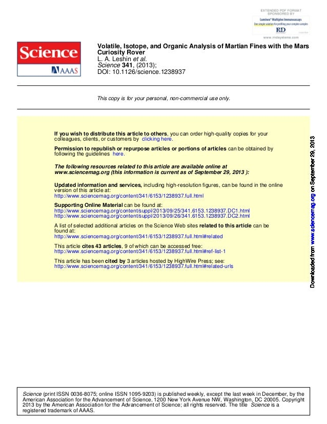 DOI: 10.1126/science.1238937 , (2013);341Science et al.L. A. Leshin Curiosity Rover Volatile, Isotope, and Organic Analysi...