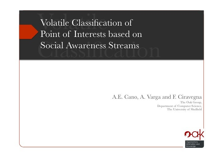 Volatile Classification of Point of Interests based on Social Activity Streams