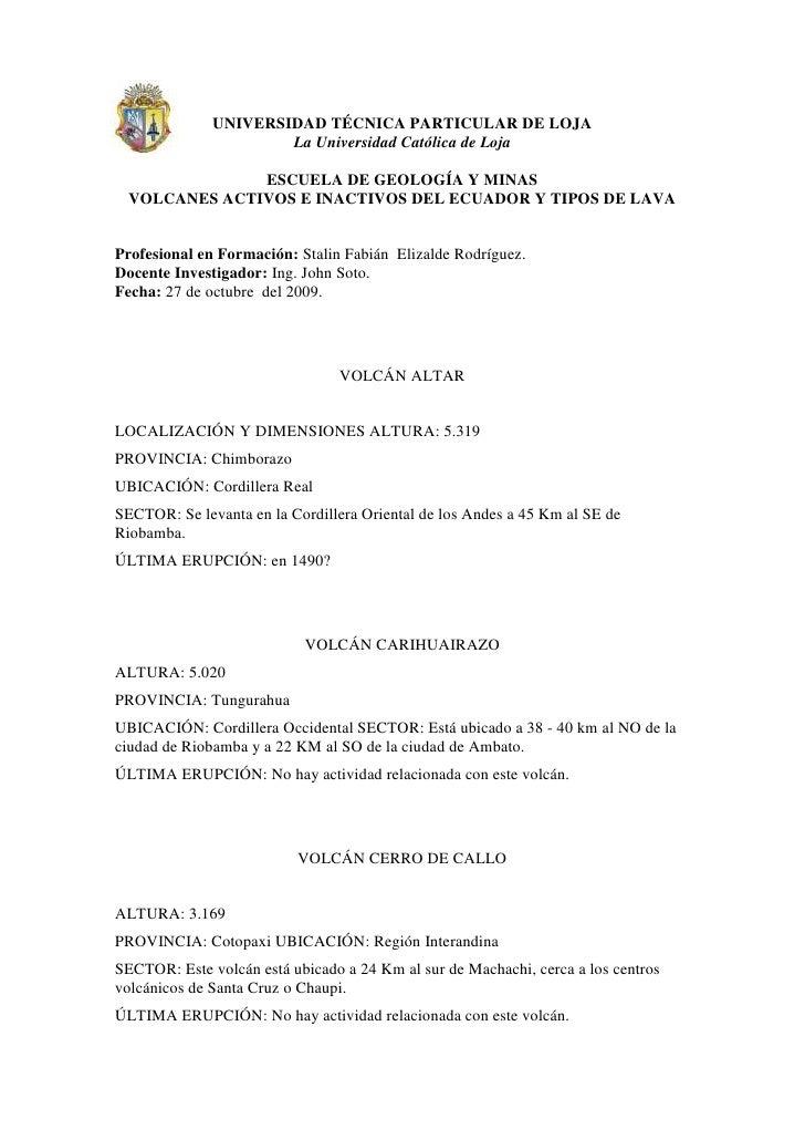 -41910-318770UNIVERSIDAD TÉCNICA PARTICULAR DE LOJA<br />La Universidad Católica de Loja<br />ESCUELA DE GEOLOGÍA Y MINAS<...