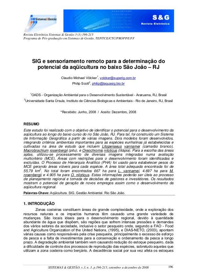 SIG e sensoriamento remoto para a determinação do  potencial da aqüicultura no baixo São João – RJ