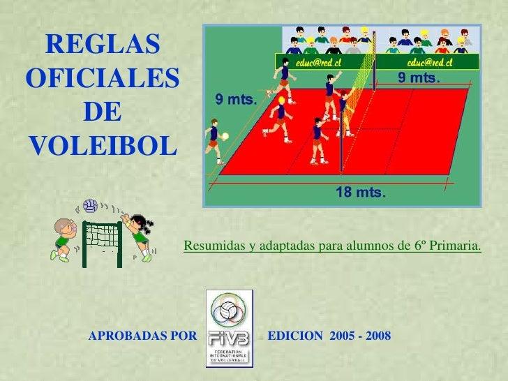 REGLAS OFICIALES    DE VOLEIBOL                 Resumidas y adaptadas para alumnos de 6º Primaria.        APROBADAS POR   ...