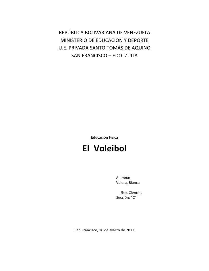 REPÚBLICA BOLIVARIANA DE VENEZUELA MINISTERIO DE EDUCACION Y DEPORTEU.E. PRIVADA SANTO TOMÁS DE AQUINO      SAN FRANCISCO ...