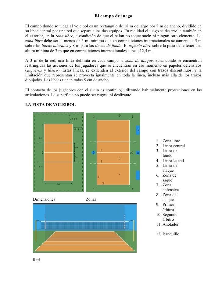 El campo de juegoEl campo donde se juega al voleibol es un rectángulo de 18 m de largo por 9 m de ancho, dividido ensu lín...