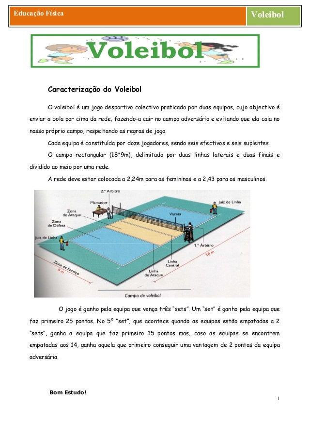 Bom Estudo! 1 Educação Física Voleibol Caracterização do Voleibol O voleibol é um jogo desportivo colectivo praticado por ...