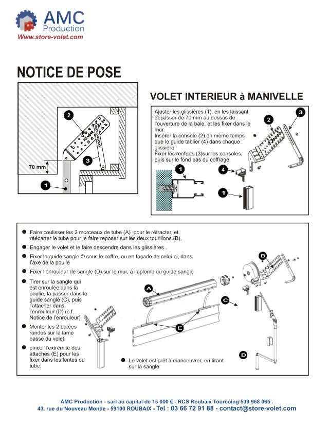 volet roulant traditionnel manivelle notice pose amc. Black Bedroom Furniture Sets. Home Design Ideas