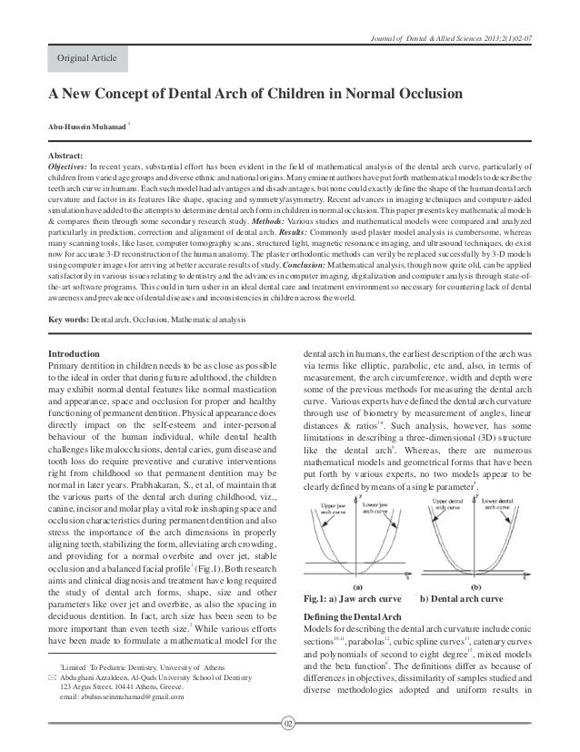 A New Concept of Dental Arch of Children in Normal Occlusion