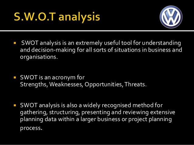 swot analysis volkswagen swot strengths Swot analysis audi audi began in germany in 1932 it was formed from the merger of four different carmakers in 1969 volkswagen acquired the business.
