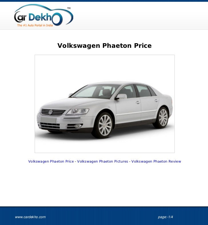 Volkswagen Phaeton Price 21Sep2012