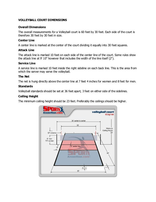 VOLLEYBALL COURT DIMENSIONS Overall Dimensions The overall measurements for a Volleyball court is 60 feet by 30 feet. Each...