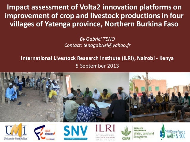 Impact assessment of Volta2 innovation platforms on improvement of crop and livestock productions in four villages of Yate...