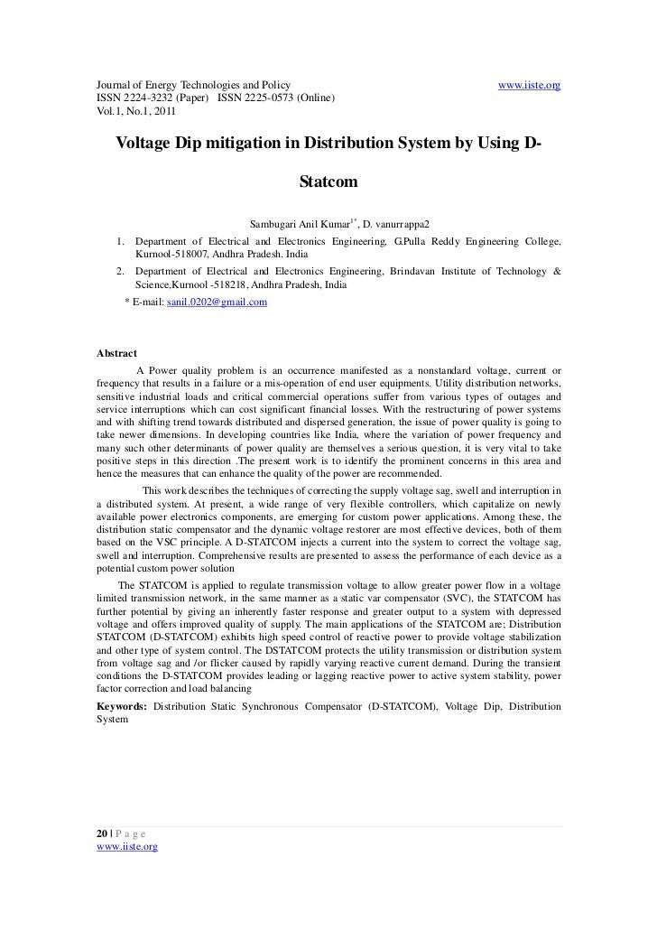 Voltage dip mitigation in distribution system by using d statcom