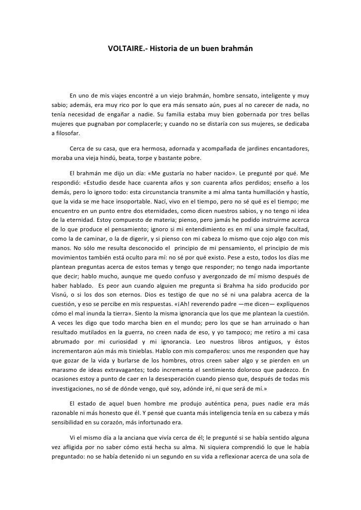 Voltaire.  historia de un buen brahmán