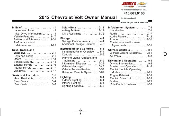 Chevrolet Volt Owner Manual - 2012                                                                                        ...
