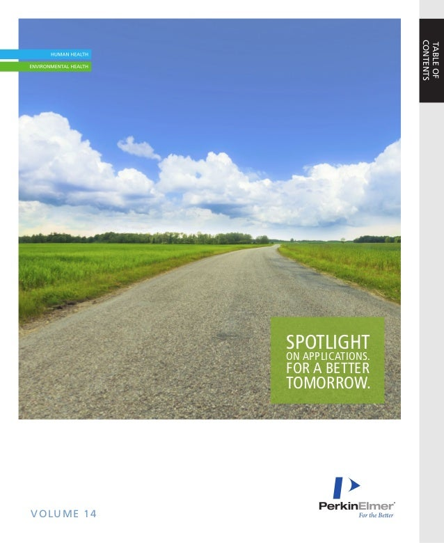VOLUME 14SPOTLIGHTON APPLICATIONS.FOR A BETTERTOMORROW.TABLEOFCONTENTS