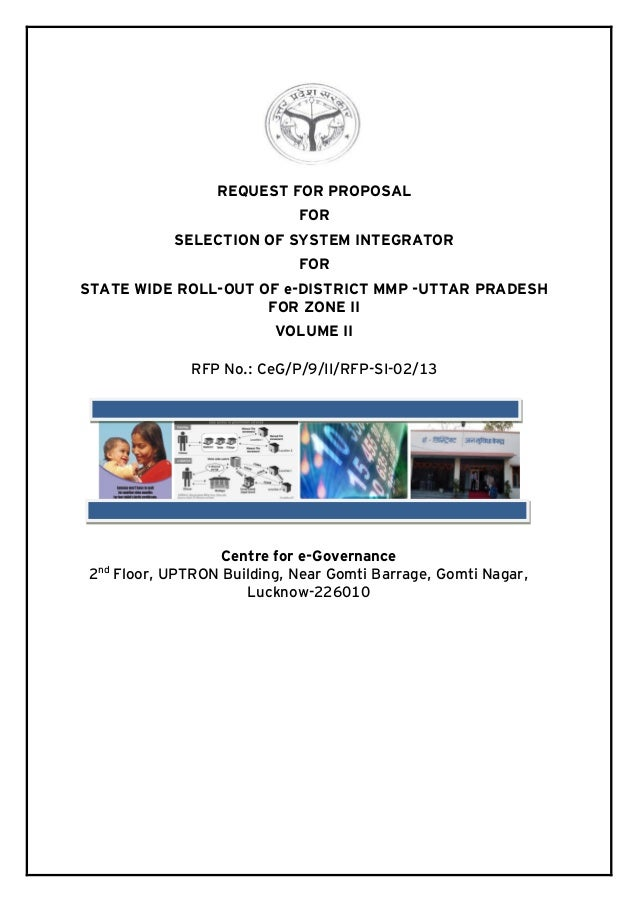 REQUEST FOR PROPOSAL FOR SELECTION OF SYSTEM INTEGRATOR FOR STATE WIDE ROLL-OUT OF e-DISTRICT MMP -UTTAR PRADESH FOR ZONE ...