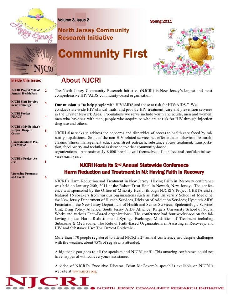 Volume 3, Issue 2                                      Spring 2011                             North Jersey Community     ...