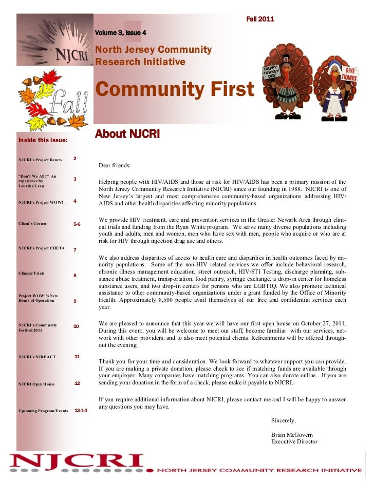 Fall 2011                                  Volume 3, Issue 4                                  North Jersey Community      ...