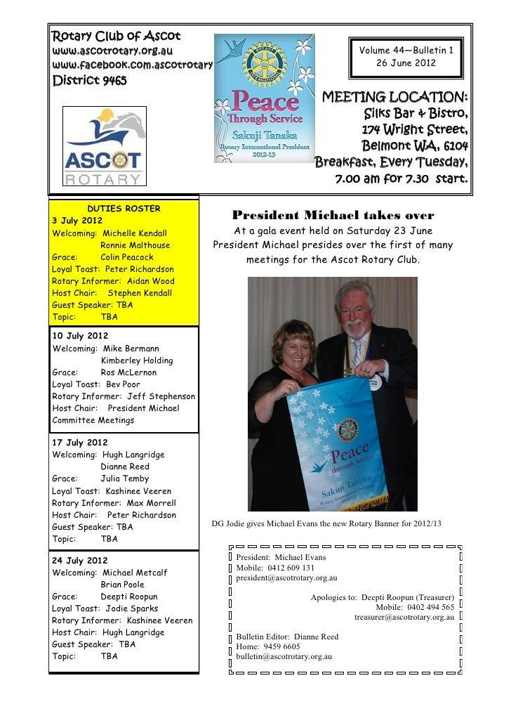 Ascot Rotary - Volume 44 - Edition 1