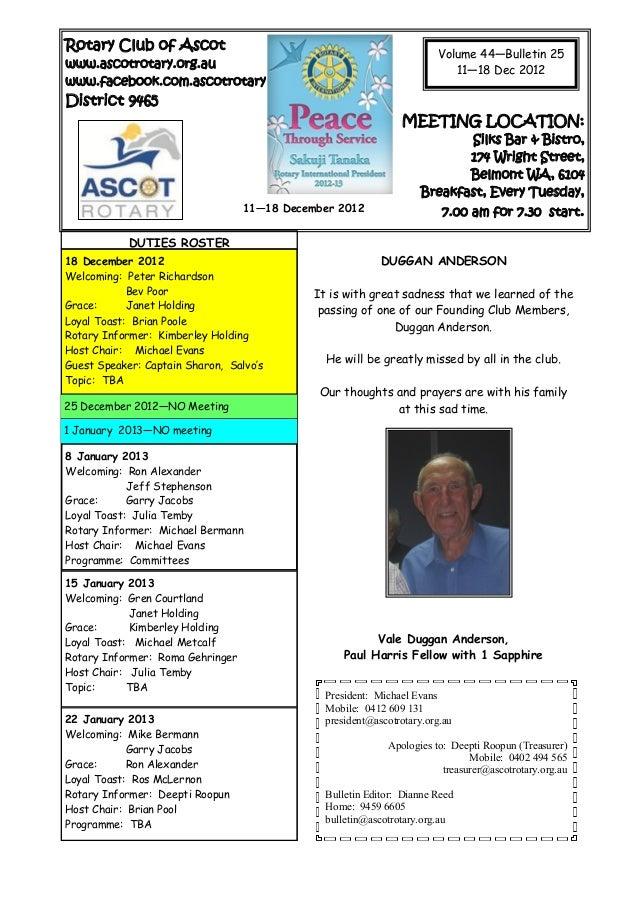 Rotary Club of Ascot                                                                       Volume 44—Bulletin 25www.ascotr...