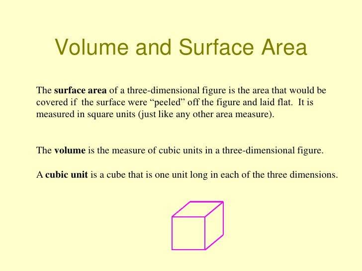 Volume and Surface AreaThe surface area of a three-dimensional figure is the area that would becovered if the surface were...