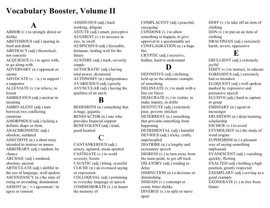 Vocabulary Booster, Volume II                                    ASSIDUOUS (adj.) hard             COMPLACENT (adj.) peace...