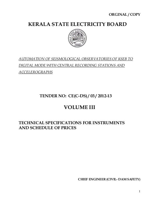 ORGINAL / COPY    KERALA STATE ELECTRICITY BOARDAUTOMATION OF SEISMOLOGICAL OBSERVATORIES OF KSEB TODIGITAL MODE WITH CENT...