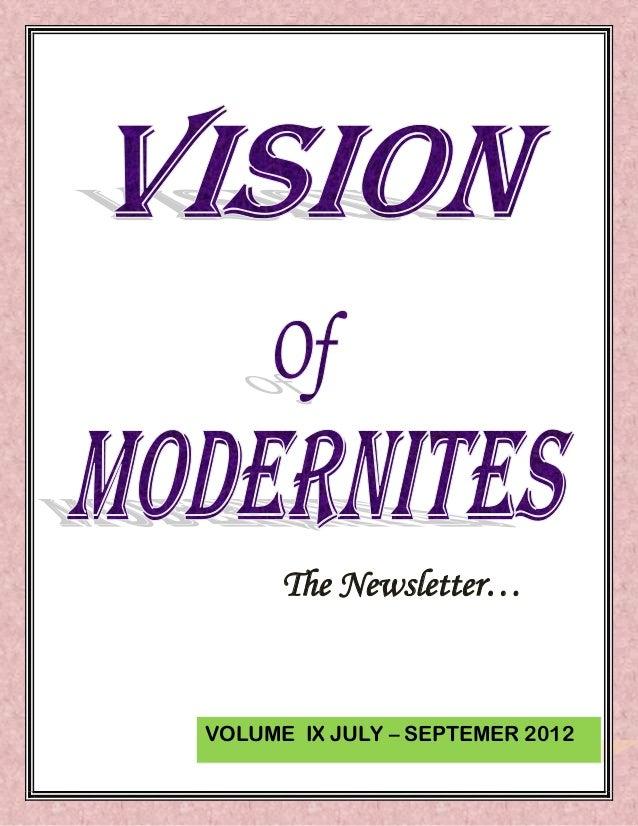 The Newsletter…VOLUME IX JULY – SEPTEMER 2012