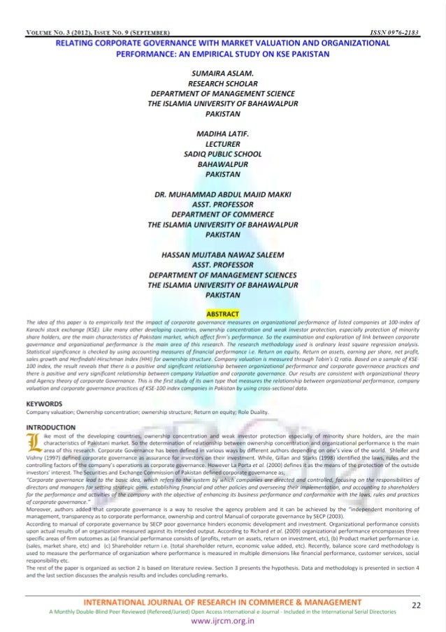 VOLCME .  O.  3 2012 ISSYE NO.  9 SEPTEMBER 976-2183        RELATING CORPORATE GOVERNANCE WITH MARKET VALUATION AND ORGANI...