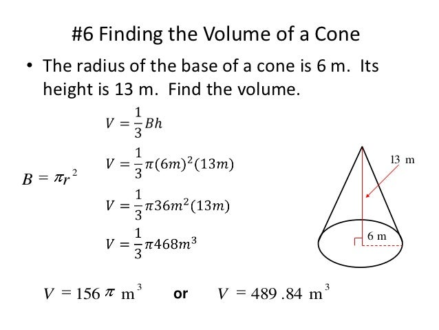 Volume Of Cylinders Cones And Spheres Edmodo