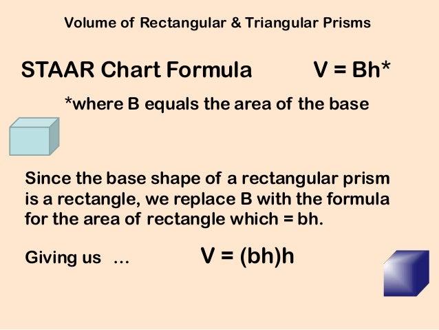 Volume of Rectangular & Triangular PrismsSTAAR Chart Formula                  V = Bh*    *where B equals the area of the b...