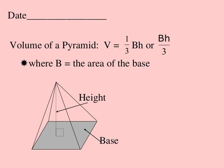 Date________________                         1       BhVolume of a Pyramid: V = 3 Bh or                                  3...
