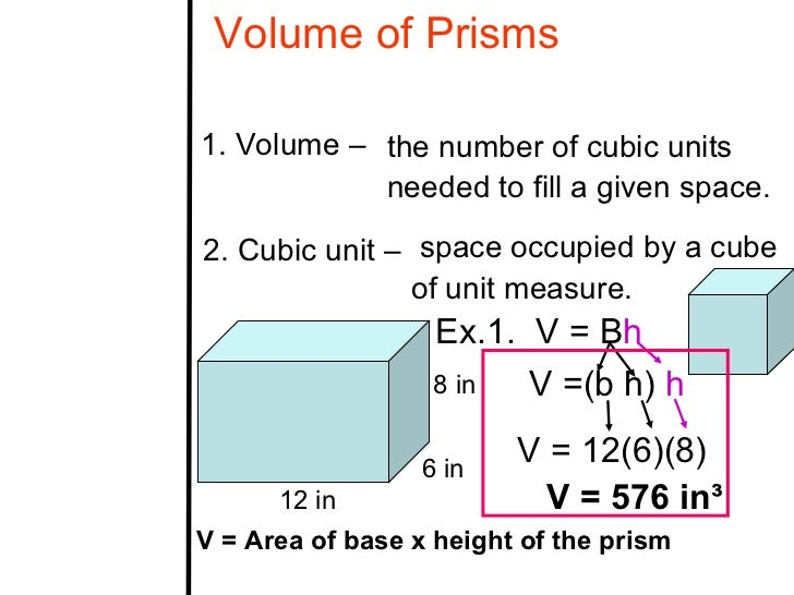 Volume of Prisms1. Volume – the number of cubic units            needed to fill a given space.2. Cubic unit – space occupi...