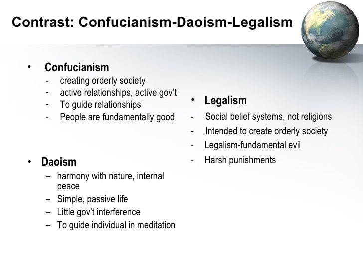 comparison of taoism and confucianism Comparison of taoism and confucianism confucianism and taoism have contrasting views on both religion and politics however, they stem from a.
