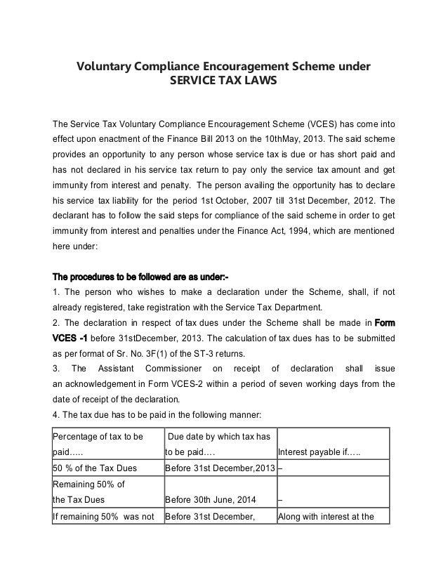 Voluntary compliance encouragement scheme under service tax laws