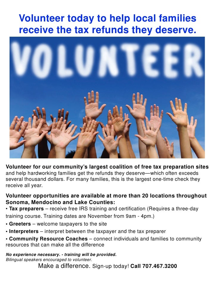 Volunteer today to help local families      receive the tax refunds they deserve.Volunteer for our community's largest coa...