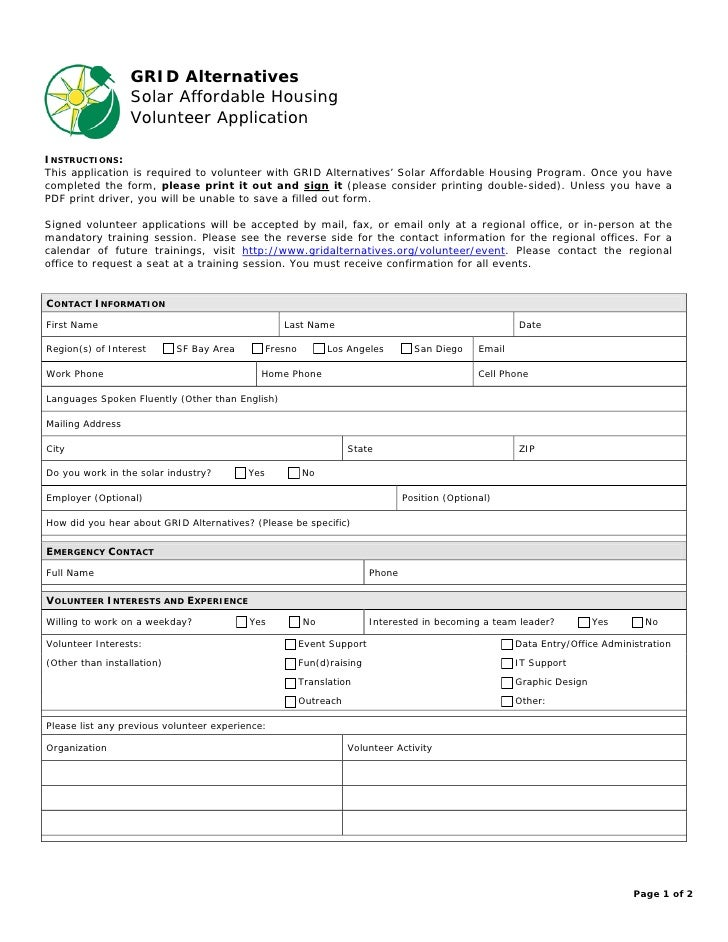 Volunteer application form for Volunteer questionnaire template