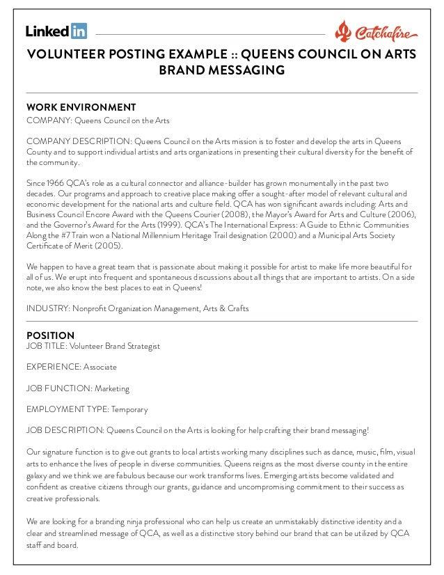Volunteer brand strategist posting example