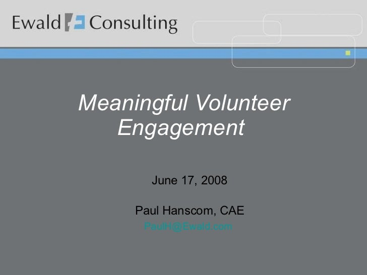 Meaningful Volunteer Engagement