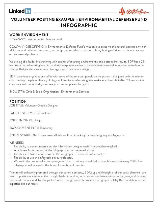 Volunteer graphic designer (infographic) posting example
