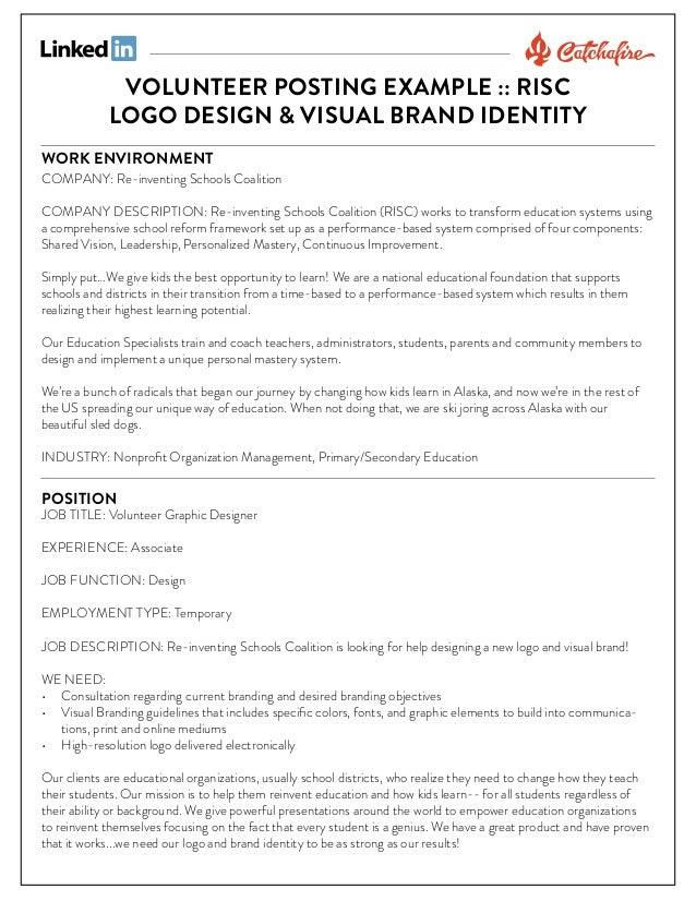 Volunteer graphic designer (logo & brand) posting example