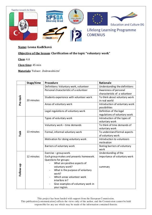 Volunteering - social studies lesson plan Czech Republic