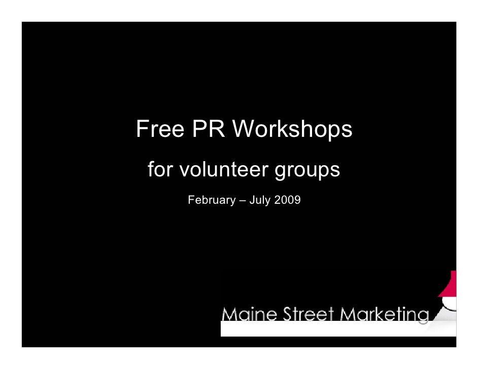 Free PR Workshops  for Volunteers