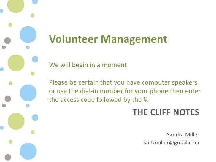 Volunteer management  cliff notes