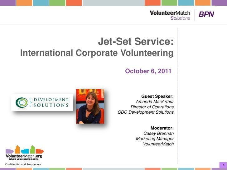 Jet-Set Service:           International Corporate Volunteering                                      October 6, 2011      ...