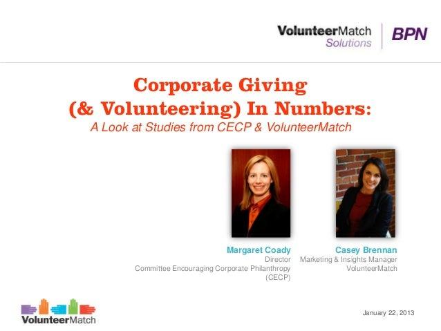 Corporate Giving(& Volunteering) In Numbers: A Look at Studies from CECP & VolunteerMatch                                 ...