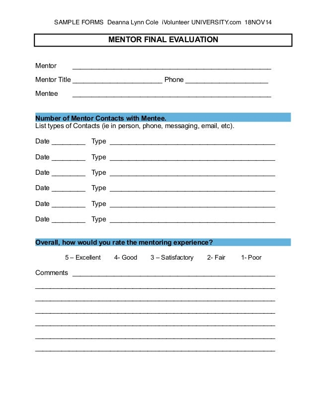 Sample Mentor Program Evaluation Form