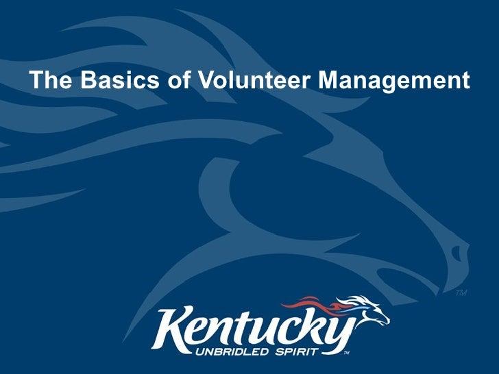 The Basics of Volunteer Management